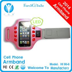 2014 New product Neoprene LED armband for mobile phone apple iphone 5s original unlocked logo customized