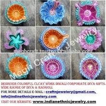 Designer Diwali Diya -Decorative Corporate Diwali Gift - Clay work diya - Indian traditional oil lamp - Diwali Gift - Home decor