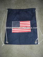 AMERICAN FLAG DENIM GARMENT DYE CINCH BAG TOTE