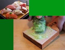 Japanese traditional grater for fresh wasabi served with sushi sauce