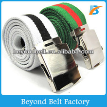 Beyond Men's Military Style Striped Web Canvas Belt With Shiny Silver Slider Buckle Many Colors Available