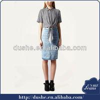 Knee length denim skirt for girls