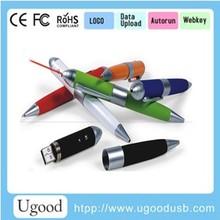Metal pen usb disk with laser pointer in blue/black ink,Laser pen usb