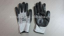 cut-3 resistant gloves/nitrile/sandy/HPPE gloves/anti-cut gloves