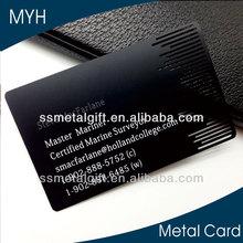 Smooth matt black laser engraved metal visiting card