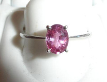 18K White Gold Pink Sapphire Gemstone Ring with Studded Diamonds