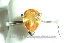 18K White Gold Yellow Sapphire Gemstone Ring with Studded Diamonds
