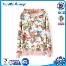 pullover thick warm women cotton sweatshirt floral hoodie