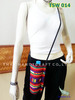 Cotton shoulder bag with water bottle holder