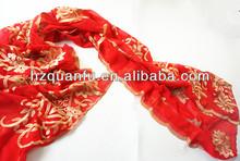 Red emboridery muslim wedding veils