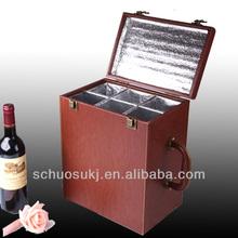 2014 Good Price Custom New Design Leather Wine Carrier