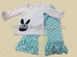 newborn cotton easter outfits for kids toddler girls twp pcs easter sets clothes rabbit shirt and aqua dot pants custom design