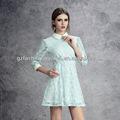2014 Hot sale da moda mulheres blue lace manga comprida casual vestido