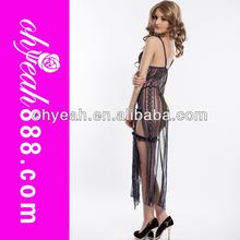 Black Long Dress Mid Asian Style Plus Size Women Sexy Revealing Lingerie
