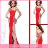 Wg03124 Sexy luxury crystal beaded one long sleeve prom dress