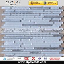 polish tile glass blend brushed metal mosaic tile 300x300mm