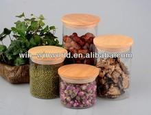 600ml Elegant Pyrex Glass Storage Jar With Wooden Top