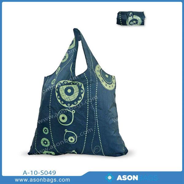 210D polyester cheap folding shopping bag