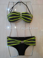 OEM &ODM shiny bandeau crochet bikini and swimwear MSH064