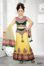 Green and Yellow Wedding Lehenga for Girls/Kids