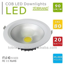 20w cob ceiling high power led recessed downlight dimmable