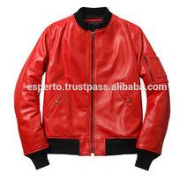 Leather Bomber Jacket, Red PU leather jacket