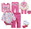 Baby's cute gift set, baby's romper+pants+bib+socks set, baby girl's sweet 4pcs romper set.