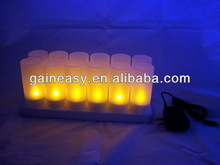 popular item Rechargeable candle tea light candle with 7 color flame,can be use for pray or hotel