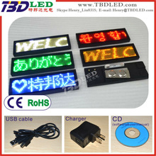 Factory price 12X48 pixels mutli-language mini scrolling led name message tag badge