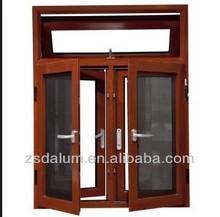 Anodized wood grain color aluminium casement window