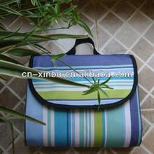 Water Proof Nylon Oxford Stripe Picnic Blanket, Picnic Mat, Blue