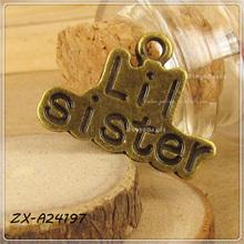 Antique Brozne Sister Pendant Tag Zinc Alloy Charm Logo Tag
