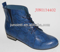 Azul marinho Animal Pu botas de lazer sapatos baixos casuais pico botas mulheres
