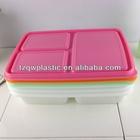 3 compartments plastic lunch box for school children