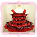 Кружева петти красный и черный цвет девушки носить короткое платье