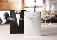 Europea style high end white black wedding invitation card
