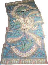 antiguo kani jacquard tejido chal de lana fina