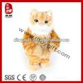 2014 nuevo chico juguete de peluche gato amarillo de cumpleaños regalos de navidad mascotas electrónicas cat animal de voz caja de juguetes de peluche de cantar y bailar gato