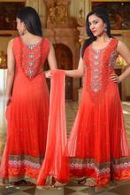 Orange Net Punjabi Party Wear Kurta/Suits designs for wholesale