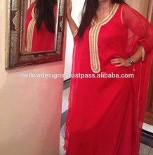 Eid 2014 Dubai red long kaftan, abaya, jalabia