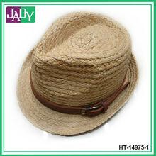 Raffia Straw Belt Strap Fedora Hats for Men