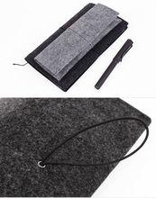 felt elastic strap vinyl pencil pouch for 2014 new design