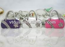 Fashion bag usb flash drive gift, jewelry usb gift for women, diamond lipstick usb