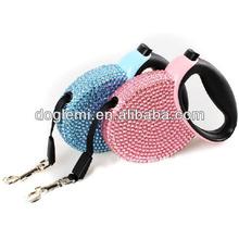 New bling rhinestone tracking dog leash automatic dog leash retractable dog lead
