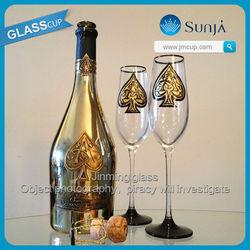 Ace of spades champagne gold rim champagne glass brand names for sale Armand de brignac wine black glass goblet