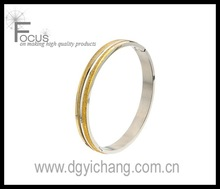 Matte and IP Gold Sand Finish Polished Line with Hinge Clasp Bangle