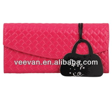 2014 Hot Pink Genuine Leather Magic Woven Pattern Wallet
