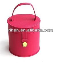Fashion leather princess Mini Cylindric cheap jewelry display cases storage
