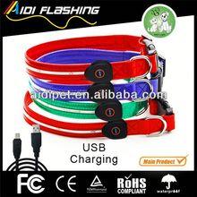 USB&solar rechargeable LED light webbing for dog collars