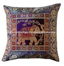 Beautiful Colourful Elephant Design in Jacquard Cushion Cover Assorted